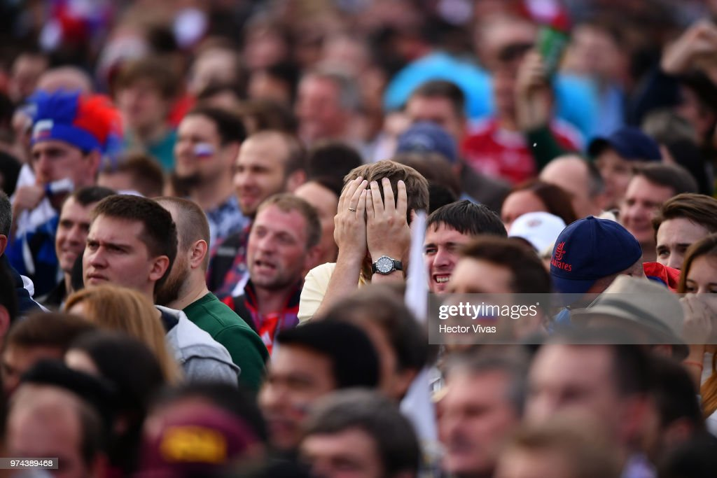 Fan of Russia reacts during the 2018 FIFA World Cup Russia group A match between Russia and Saudi Arabia at FIFA Fans Fest Moscow on June 14, 2018 in Moscow, Russia.