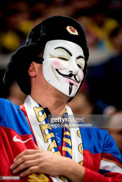 A fan of Russia wears a mask during the group A match Russia v Sweden of the 2018 IIHF Ice Hockey World Championship at the Royal Arena in Copenhagen...