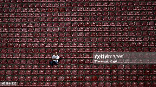 A fan of Sao Paulo looks on during the match between Sao Paulo and Gremio for the Brazilian Series A 2016 at Morumbi Stadium on November 17 2016 in...
