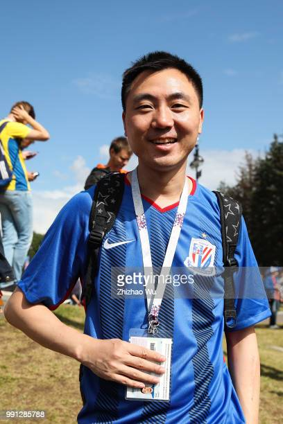 Fan of Shang Hai Greenland Shen Hua Football Club of China cheer before the 2018 FIFA World Cup Russia Round of 16 match between 1st Group F and 2nd...