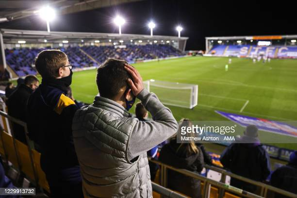 Fan of Shrewsbury Town react as Accrington Stanley score a penalty to make it 2-2 during the Sky Bet League One match between Shrewsbury Town and...