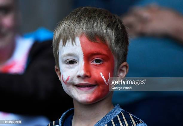 Fan of St Helens during the Coral Challenge Cup Semi-Final between St Helens and Halifax at University of Bolton Stadium on July 27, 2019 in Bolton,...