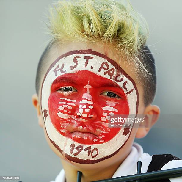 A fan of St Pauli looks on prior to the Second Bundesliga match between FSV Frankfurt and FC St Pauli at Frankfurter Volksbank Stadion on August 30...