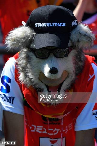 A fan of Sunwolves poses for a photographs during the Super Rugby match between the Sunwolves and the Blues at Prince Chichibu Stadium on July 15...