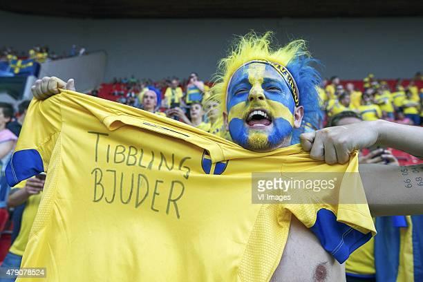 fan of Sweden Simon Tibbling Bjuder during the UEFA European Under21 Championship final match between Sweden and Portugal on June 30 2015 at the Eden...