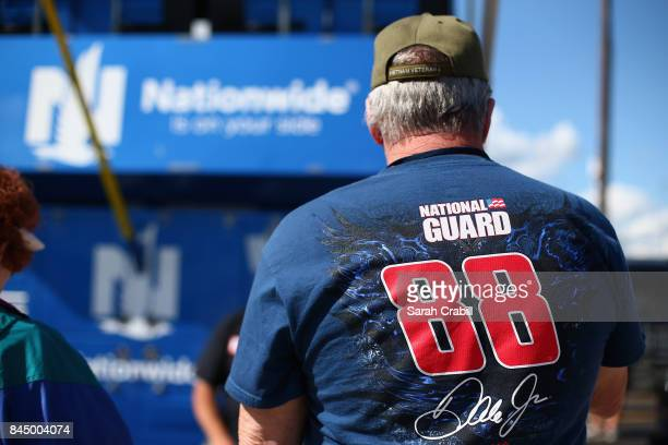 A fan of the AXALTA Chevrolet is seen prior to the Monster Energy NASCAR Cup Series Federated Auto Parts 400 at Richmond Raceway on September 9 2017...