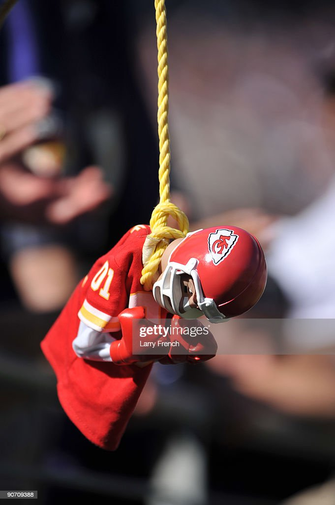 A fan of the Baltimore Ravens dangles a Kansas City Chiefs doll during the game at M&T Bank Stadium on September 13, 2009 in Baltimore, Maryland. The Ravens defeated the Chiefs 38-24.