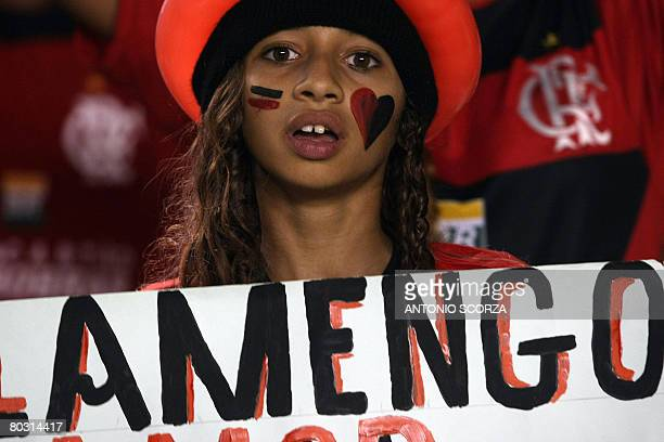 A fan of the Brazilian football team Flamengo waits for the start of the Libertadores Cup match against Uruguay's Nacional on March 19 2008 at...