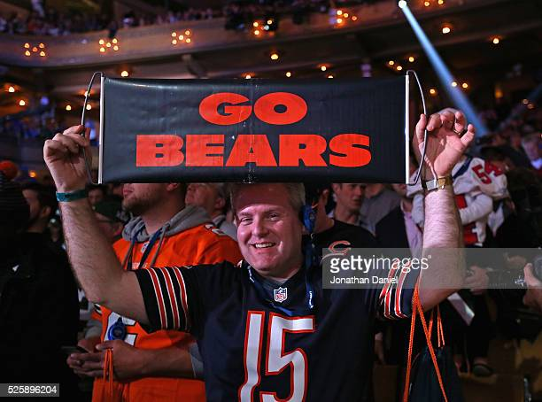 A fan of the Chicago Bears displays a sign during the 2016 NFL Draft at the Auditorium Theater on April 28 2016 in Chicago Illinois