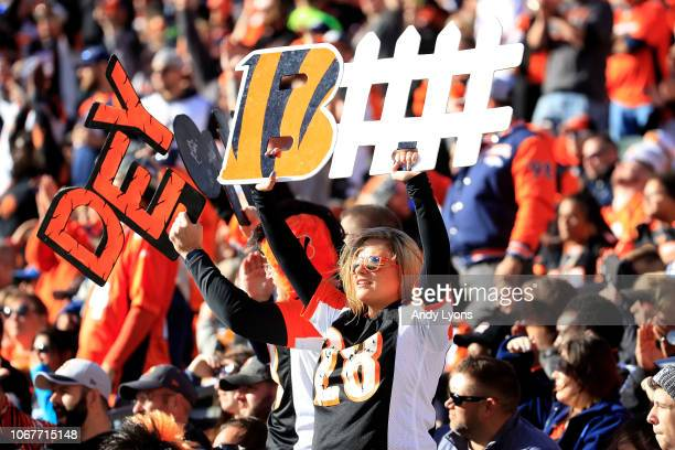 A fan of the Cincinnati Bengals holds up a sign in support of the defense during the second quarter of the game against the Denver Broncos at Paul...