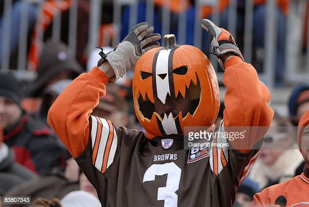 A fan of the Cleveland Browns shows his support during a game between the Houston Texans and the Cleveland Browns on November 23 2008 at Cleveland...