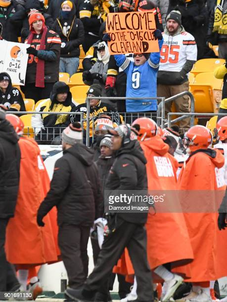 A fan of the Detroit Lions holds up a sign in the fourth quarter of a game on December 31 2017 between the Cleveland Browns and Pittsburgh Steelers...