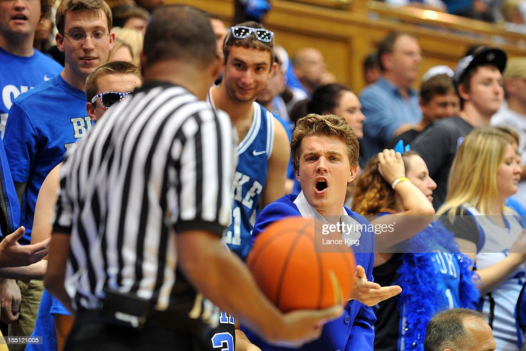 A fan of the Duke Blue Devils yells at a referee during a game against the Winston-Salem State Rams at Cameron Indoor Stadium on November 1, 2012 in Durham, North Carolina. Duke defeated Winston-Salem State 69-44.