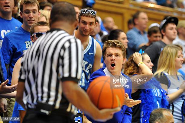 A fan of the Duke Blue Devils yells at a referee during a game against the WinstonSalem State Rams at Cameron Indoor Stadium on November 1 2012 in...