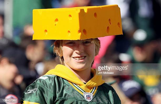 Fan of the Green Bay Packers looks on as his team plays the New York Jets on October 31, 2010 at the New Meadowlands Stadium in East Rutherford, New...