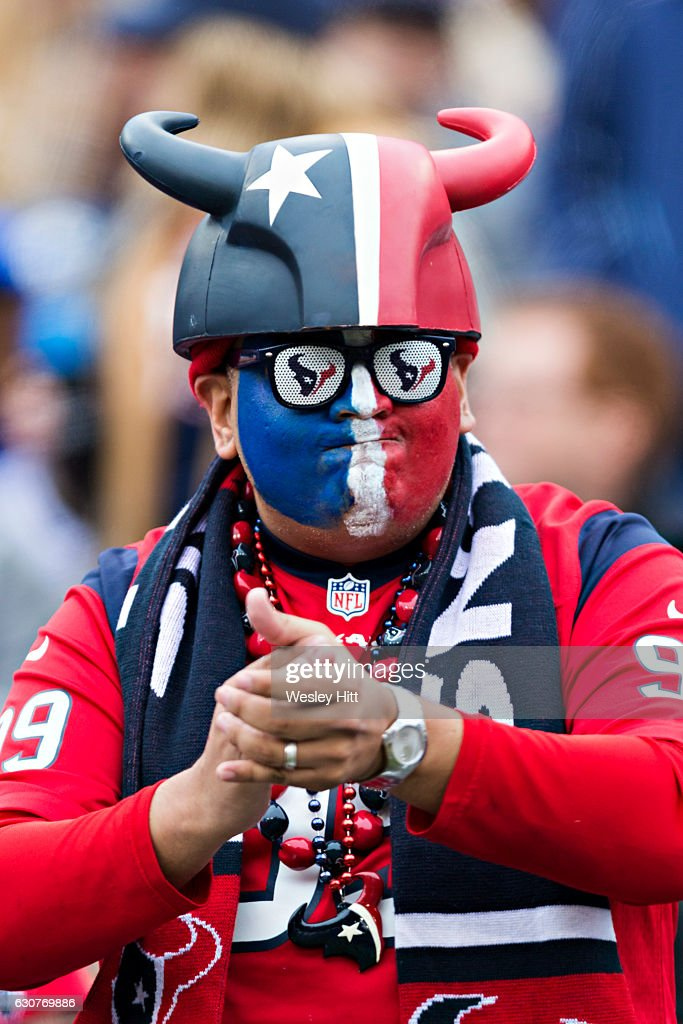 Fan of the Houston Texans roots on his team during a game against the Tennessee Titans at Nissan Stadium on January 1, 2017 in Nashville, Tennessee. The Titans defeated the Texans 24-17.