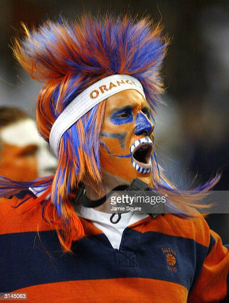 A fan of the Illinois Fighting Illini cheers at their game versus the Duke Blue Devils during the third round game of the NCAA Division I Men's...