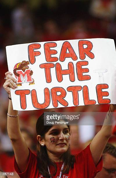 Fan of the Maryland Terrapins holds up a sign of support during the semifinal round of the NCAA Men's Final Four against the Kansas Jayhawks on March...