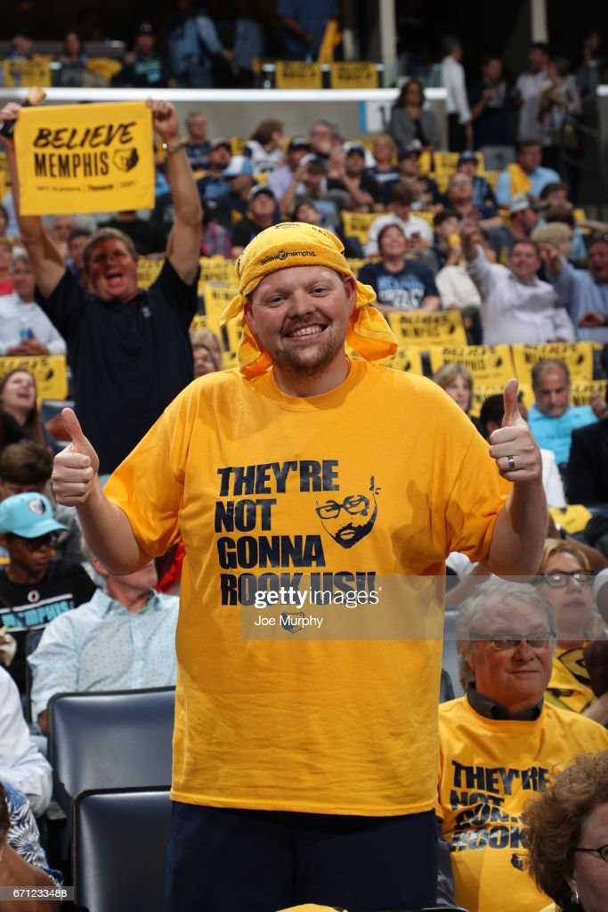 A fan of the Memphis Grizzlies poses for a photo before the game against the San Antonio Spurs during Game Three of the Western Conference Quarterfinals of the 2017 NBA Playoffs on April 20, 2017 at FedExForum in Memphis, Tennessee.
