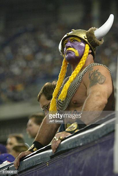 A fan of the Minnesota Vikings wears face paint and a viking hat during the game against the Chicago Bears at the Hubert H Humphrey Metrodome on...