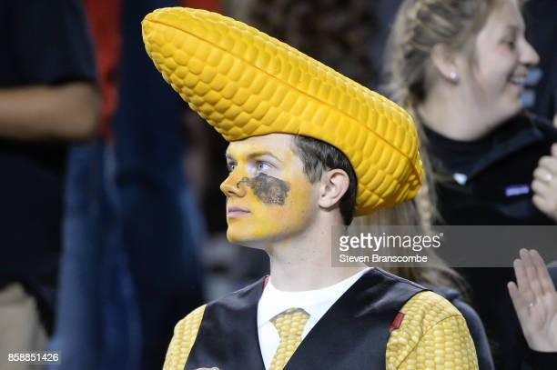 A fan of the Nebraska Cornhuskers watches action against the Wisconsin Badgers at Memorial Stadium on October 7 2017 in Lincoln Nebraska