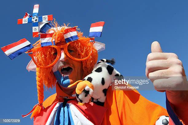 A fan of the Netherlands poses during the 2010 FIFA World Cup Group E match between Netherlands and Denmark at Soccer City Stadium on June 14 2010 in...