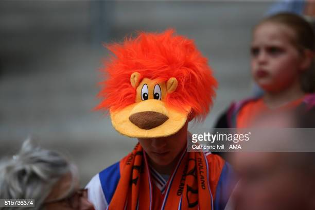 A fan of the Netherlands wearing a lion hat during the UEFA Women's Euro 2017 Group A match between Netherlands and Norway at Stadion Galgenwaard on...