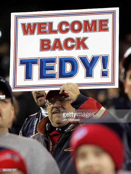 A fan of the New England Patriots displays a sign welcoming back linebacker Tedy Bruschi before the game against the Buffalo Bills at Gillette...