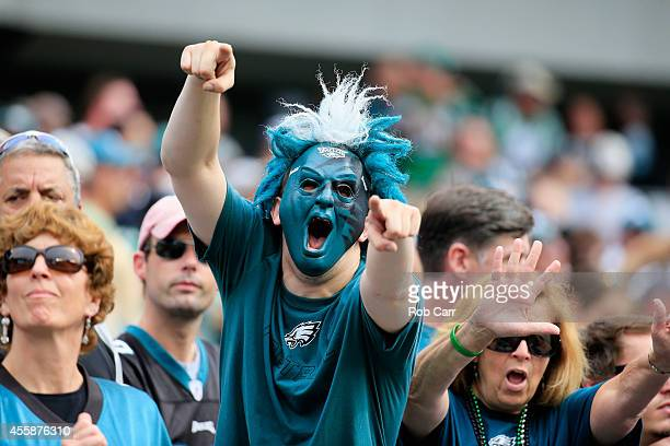 A fan of the Philadelphia Eagles celebrates after a touchdown in the second quarter against the Washington Redskins at Lincoln Financial Field on...