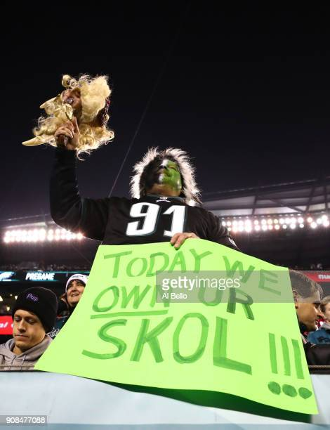A fan of the Philadelphia Eagles cheers during warm ups before taking on the Minnesota Vikings in the NFC Championship game at Lincoln Financial...
