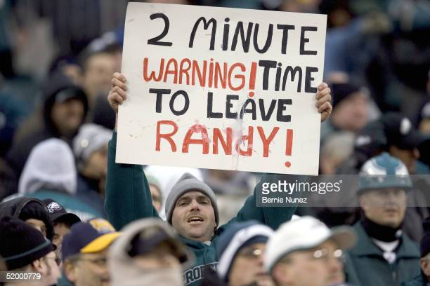 A fan of the Philadelphia Eagles holds a sign aimed at Randy Moss of the Minnesota Vikings during the NFC divisional playoff game on January 16 2005...