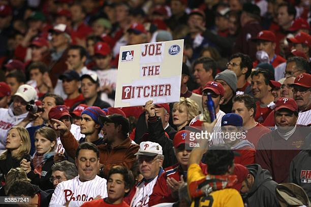 A fan of the Philadelphia Phillies holds up a sign which reads Joe the Pitcher in support of Phillies' starting pitcher Joe Blanton against the Tampa...