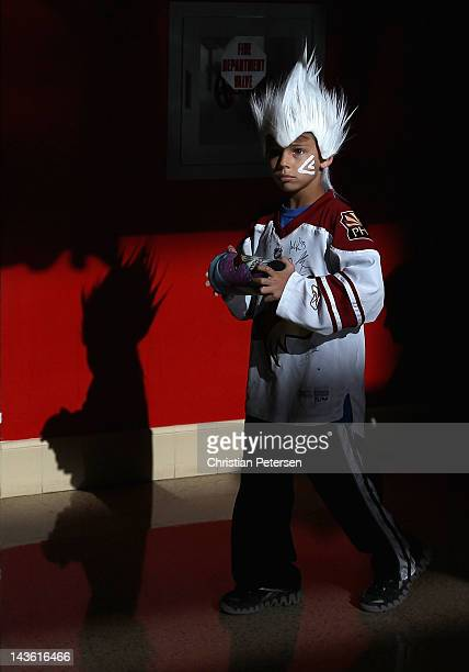 Fan of the Phoenix Coyotes Evan Silver of Flagstaff stands in the concourse before Game Two of the Western Conference Semifinals against the...