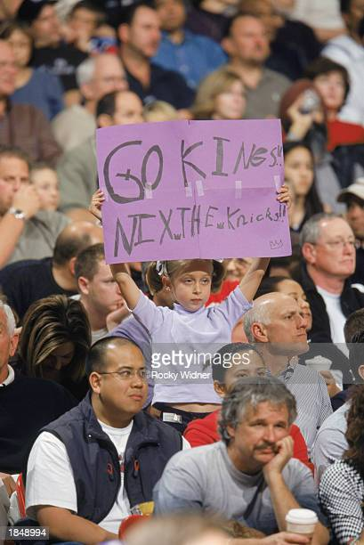 Fan of the Sacramento Kings shows her team spirit during the game against the New York Knicks at Arco Arena on February 23 2003 in Sacramento...