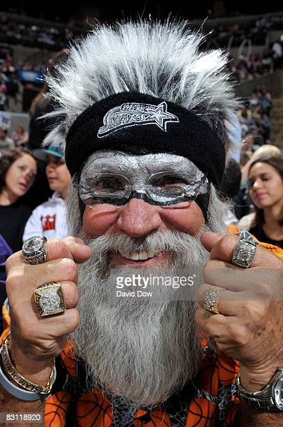 A fan of the San Antonio Silver Stars cheers against the Detroit Shock during Game Two of the WNBA Finals on October 3 2008 at ATT Center in San...