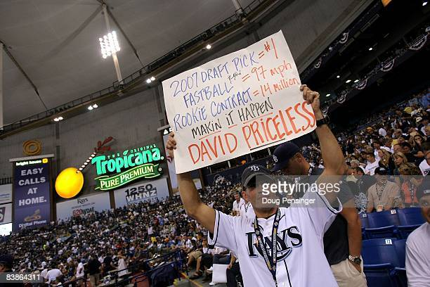 """Fan of the Tampa Bay Rays holds up a """"Priceless"""" sign in support of David Price against the Philadelphia Phillies during game one of the 2008 MLB..."""