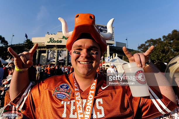 A fan of the Texas Longhorns stands outside the stadium prior to the game against the Alabama Crimson Tide in the Citi BCS National Championship game...