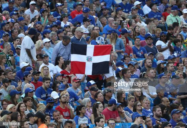 A fan of the Toronto Blue Jays holds up a flag of the Dominican Republic after an RBI double by Jose Bautista in the second inning during MLB game...