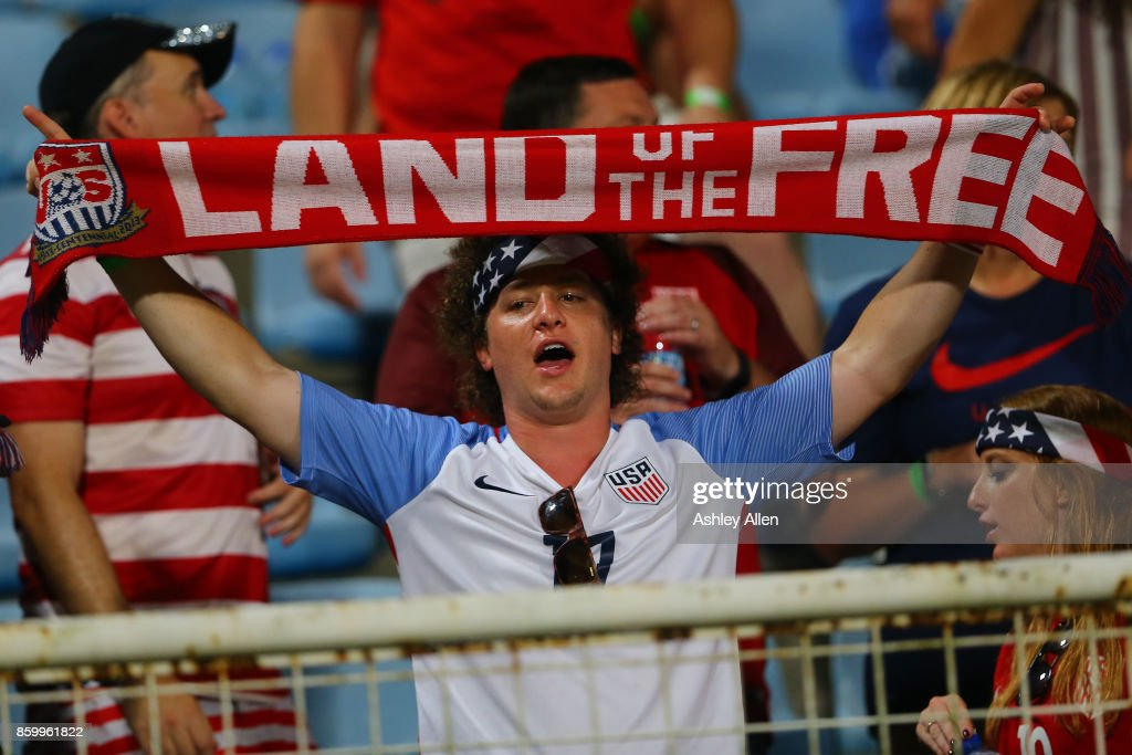 A fan of the United States mens national team shows his support during the FIFA World Cup Qualifier match between Trinidad and Tobago at the Ato Boldon Stadium on October 10, 2017 in Couva, Trinidad And Tobago.