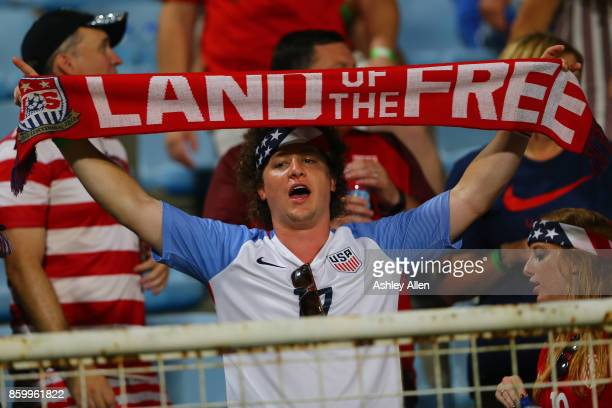 A fan of the United States mens national team shows his support during the FIFA World Cup Qualifier match between Trinidad and Tobago at the Ato...