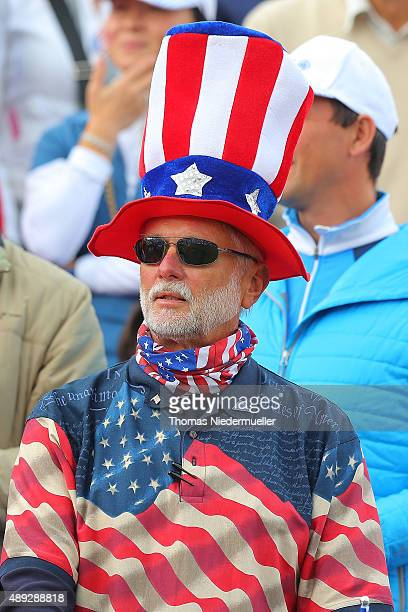 Fan of the United States Team is seen at the first tee during the Sundays single matches in the 2015 Solheim Cup at St LeonRot Golf Club on September...