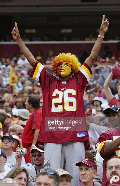 Fan of the Washington Redskins celebrates in the stands during NFL week one action against the Tampa Bay Buccaneers at FedEx Field on September 12,...