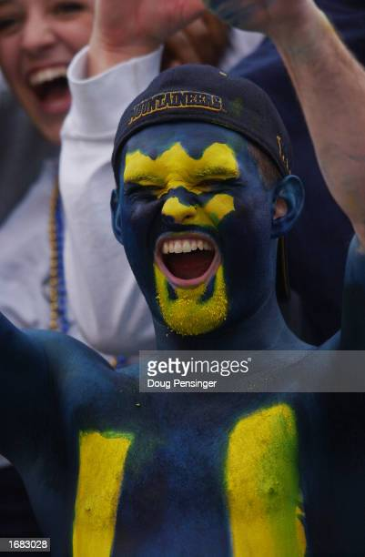 A fan of the West Virginia University Mountaineers cheers on his team during a Big East game against the University of Miami Hurricanes on October 26...