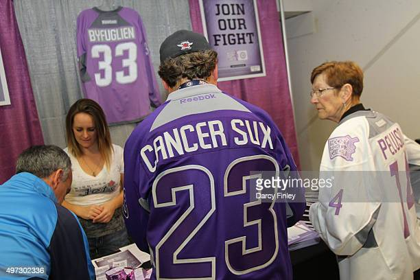 A fan of the Winnipeg Jets shows his support for the Hockey Fights Cancer initiative prior to NHL action between the Jets and the Philadelphia Flyers...