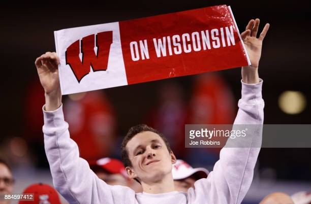 A fan of the Wisconsin Badgers cheers before taking on the Ohio State Buckeyes in the Big Ten Championship game at Lucas Oil Stadium on December 2...