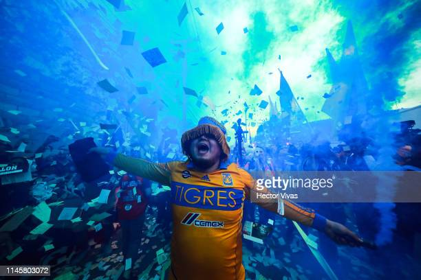 Fan of Tigres cheer outside the stadium prior the Final first leg match between Tigres UANL and Leon as part of the Torneo Clausura 2019 Liga MX at...