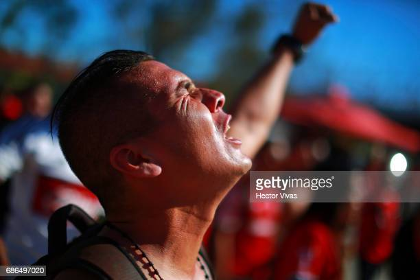 Fan of Tijuana cheers for his team prior the semi final second leg match between Tijuana and Tigres UANL as part of the Torneo Clausura 2017 Liga MX...