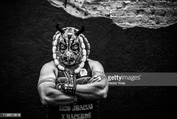 Fan of Toluca poses prior the 15th round match between Toluca and America as part of the Torneo Clausura 2019 Liga MX at Nemesio Diez Stadium on...