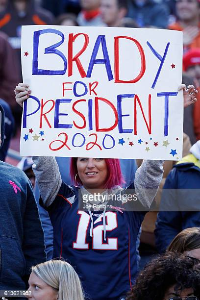 A fan of Tom Brady of the New England Patriots looks on in the second quarter of the game against the Cleveland Browns at FirstEnergy Stadium on...