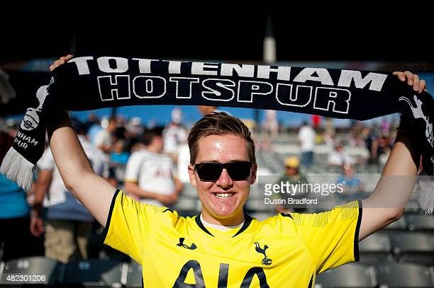 A fan of Tottenham Hotspur shows his support before the 2015 ATT Major League Soccer AllStar game at Dick's Sporting Goods Park on July 29 2015 in...